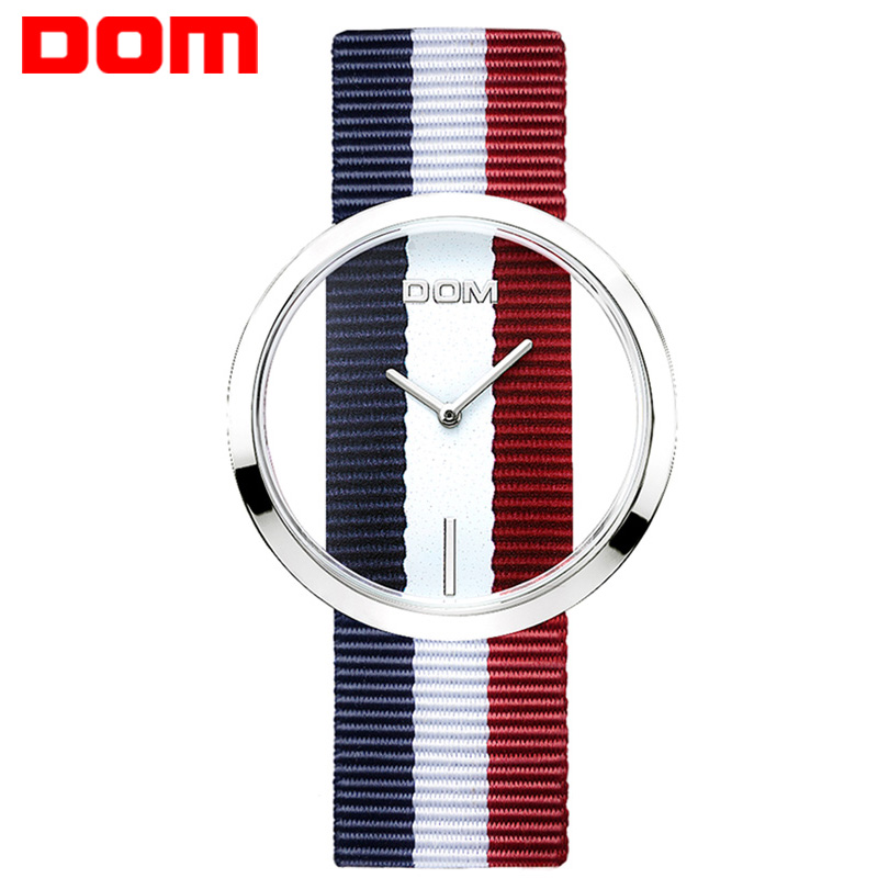 Watch Women DOM brand luxury Fashion Casual quartz Unique Stylish  Hollow skeleton  watches Nylon sport Lady wristwatches