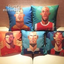 Moderna Estrella de Fútbol Fans Suministros Cojines de Lino de Algodón funda de Almohada Impresa de Dibujos Animados Almohada Decorativa Decoración Throw Pillow