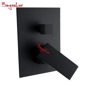 "Image 5 - Bagnolux プレミアム品質真鍮黒浴室 8 ""レインシャワーヘッド蛇口天井シャワーアームダイバーミキサーハンドヘルドスプレーセット"