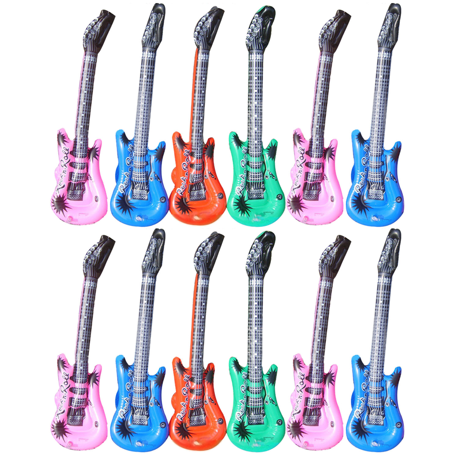 Kids 12PCS Cartoon Colorful Inflatable Guitar Shape PVC Balloons Musical Instruments Air Balloon Concert Pool Party Decor Toy