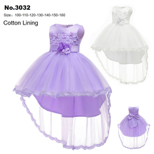 Free Shipping HG Princess Red Girl Dress 2019 New Arrival lavender Flower Dresses Cotton Lining 3-14 Years Kids Party Gowns