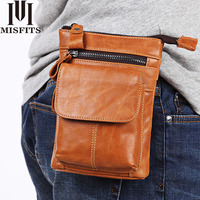 Waist Belt Bag Men's Genuine Leather Fanny Pack Casual Waist Phone Shoulder Bag for Belt Male Small Bum Leg Bag Travel Messenger