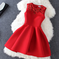 2018 Summer New Korean Women's Dress Sleeveless Red Black Beading High Waist Ball Gown Mini Party Dress Plus Size Xxl Quality