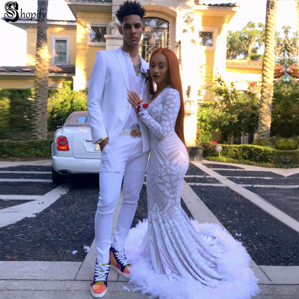 3ce4f402c283 Long Elegant Prom Dresses 2019 Sexy Mermaid V-neck Long Sleeve Sequin  African Feather White