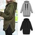 Fashion Winter Women Harajuku Sweatshirt Cotton Blend Casual Ladies Hoodies Zipper Sport Suit Tracksuit Solid S-XXL Plus Size