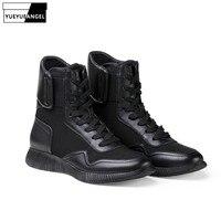 Новые модные мужские ботинки до середины икры из натуральной коровьей кожи в стиле панк, на шнуровке, на низком каблуке, мужская обувь, Zapatos De