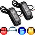 2PCS(1Pairs) DRL Strobe Flash 3 SMD 3LEDs 12V 24V Warning Lights 16 Modes Car Daytime Running Lights Headlights White Blue Red