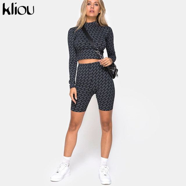 Kliou women sexy sporting 2 pieces set full sleeve turtleneck crop top elastic high waist shorts letter print fitness tracksuits
