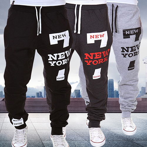 Men New York Print Jogger Dance wear Baggy Casual Pants Trousers Sweatpants