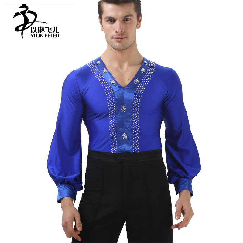 New mens V-neck dance shirt/ top, ballroom Modern Tango Samba latin dance costumes for performance competition, 2 colors SM06