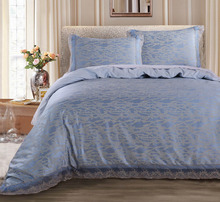 Poly cotton Jacquard Quilt Cover Set with Blue lace including duvet cover and pillow case