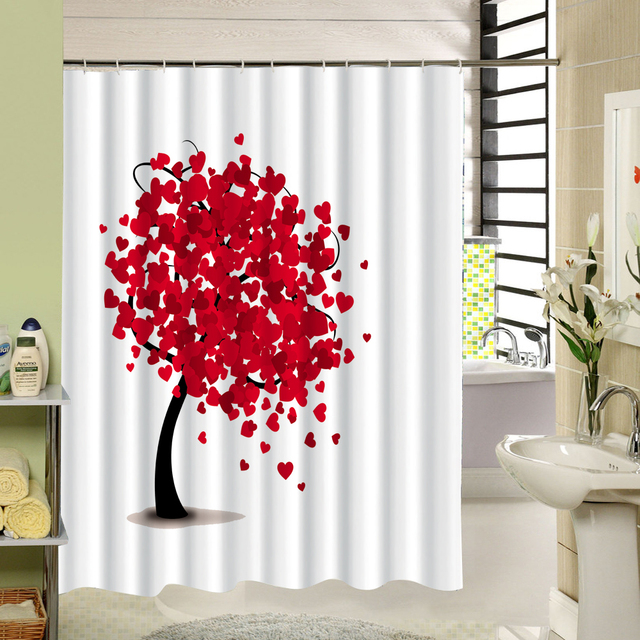 Ordinaire Simple Style Painting Tree Bathroom Accessories Waterproof Shower Curtains  Acceptable Personalized Custom