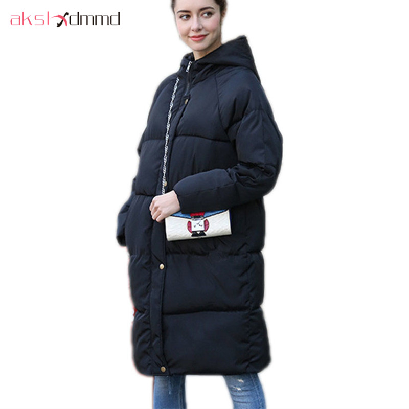 AKSLXDMMD Parkas Women Cotton Padded Coat 2017 New Winter Jacket Women Casual Hooded Jackets and Coats Female Casacos LH962 akslxdmmd parkas mujer plus size winter coats 2017 new thick padded cotton printed letters hooded winter women jacket lh1114