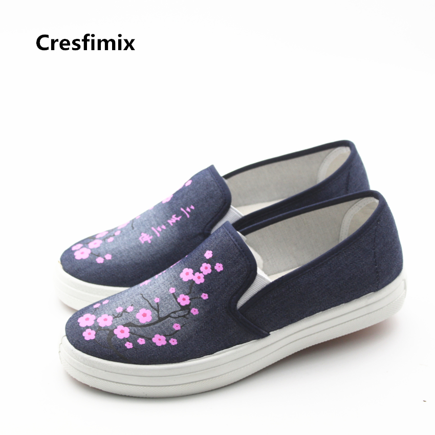 Cresfimix sapatos femininas women cute navy blue floral print flat shoes female casual canvas round toe shoes female cool shoes cresfimix sapatos femininas women casual soft pu leather flat shoes with side zipper lady cute spring