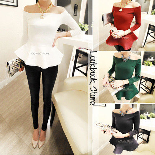 Women 2013 autum Sexy Fit and flare Ruffled Hem Zip Long Sleeves Off-Shoulder Top Tee Shirt blouse 4 colors