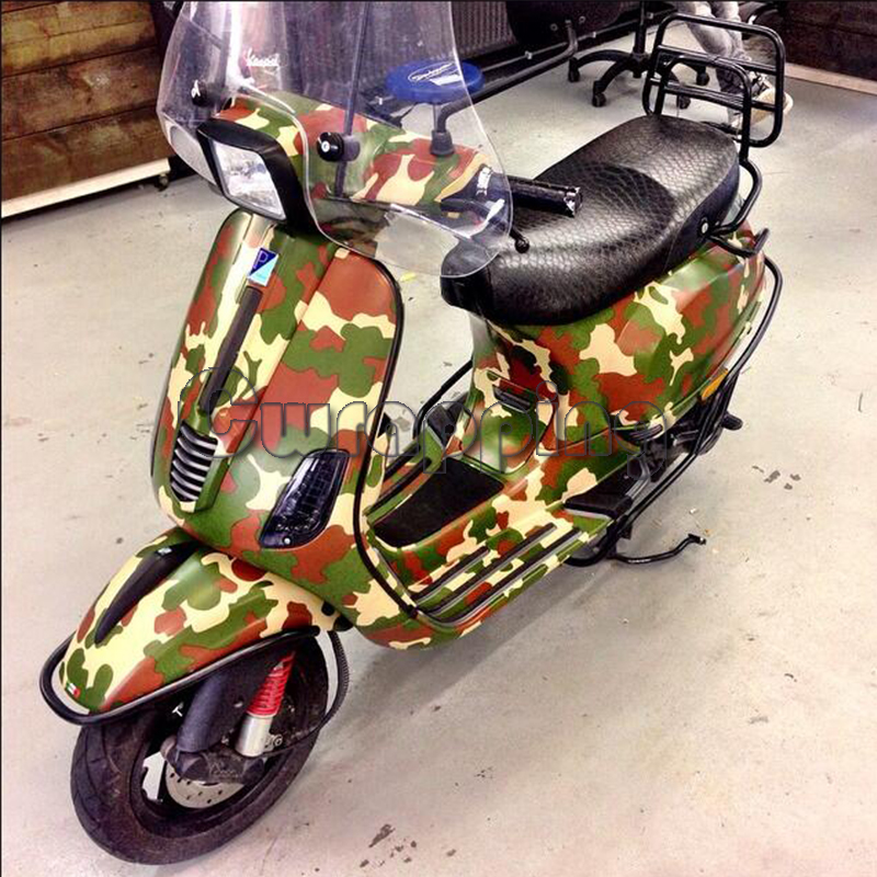 Forest Style Camouflage Vinyl Sheet Green Military Camo Car Wrapping Film Waterproof PVC Motorcycle Scooter Decals Rolls
