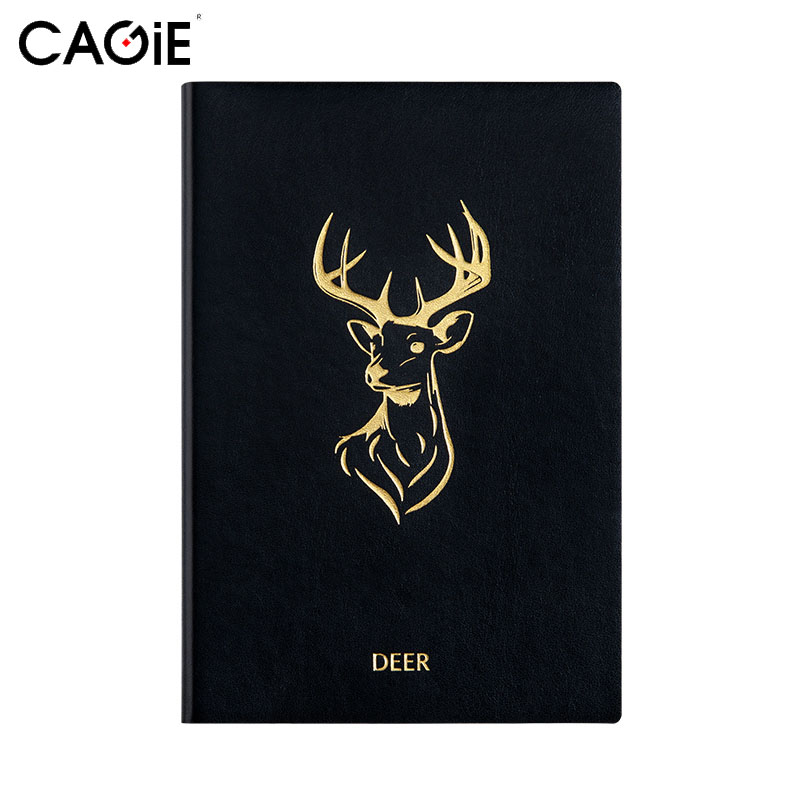 CAGIE 2017 A5 Black Planner Notebook Gold Animal Pattern Two Days One Page Vintage Organizer Agenda Sketchbook