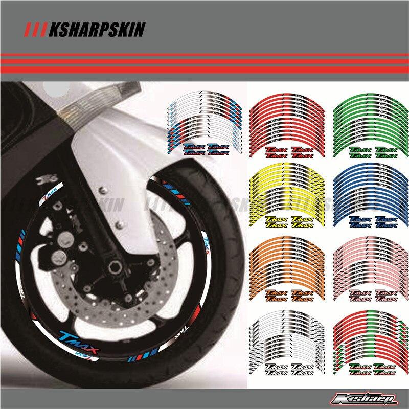 12 X Bord Épais Extérieur Autocollant Rim Stripe Roue Stickers FIT YAMAHA TMAX530 TMAX500 TMAX 500 530 15''
