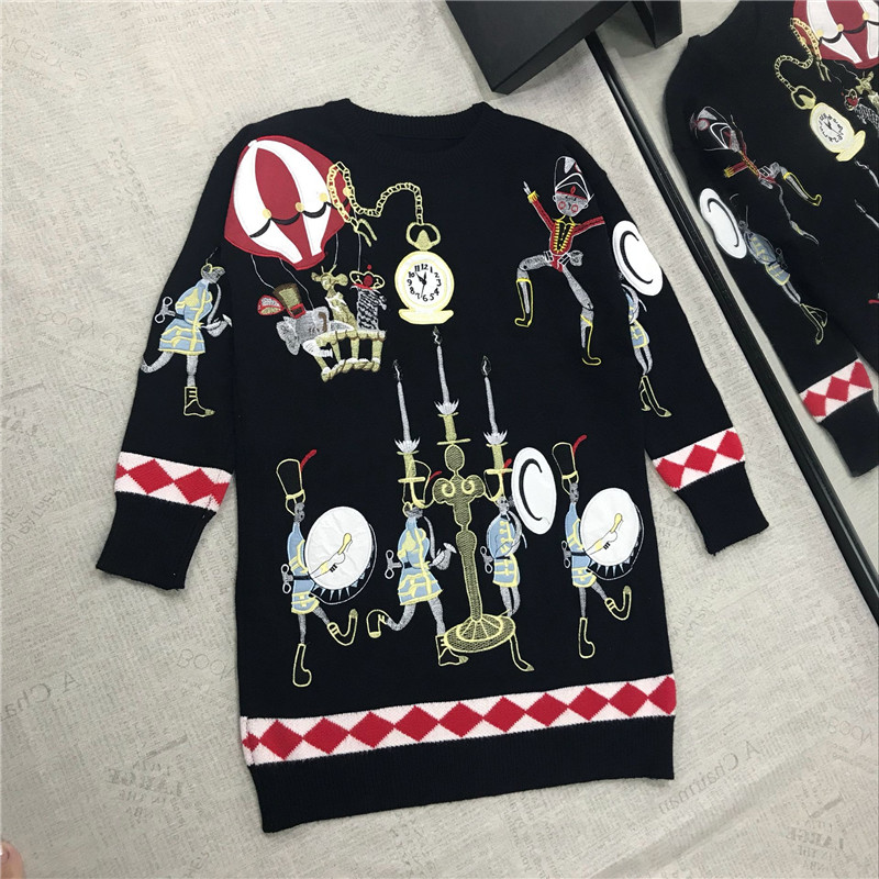 High Quality 50% Wool Sweater for Women Winter Circus Cartoon Pattern Embroidery Sequins Diamond Warm Loose Knitted Pullovers