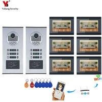 Интерком квартиры Системы 7 Wifi монитор видеонаблюдения 6 единиц квартире телефон видео домофон Системы домашней проводной видео домофон