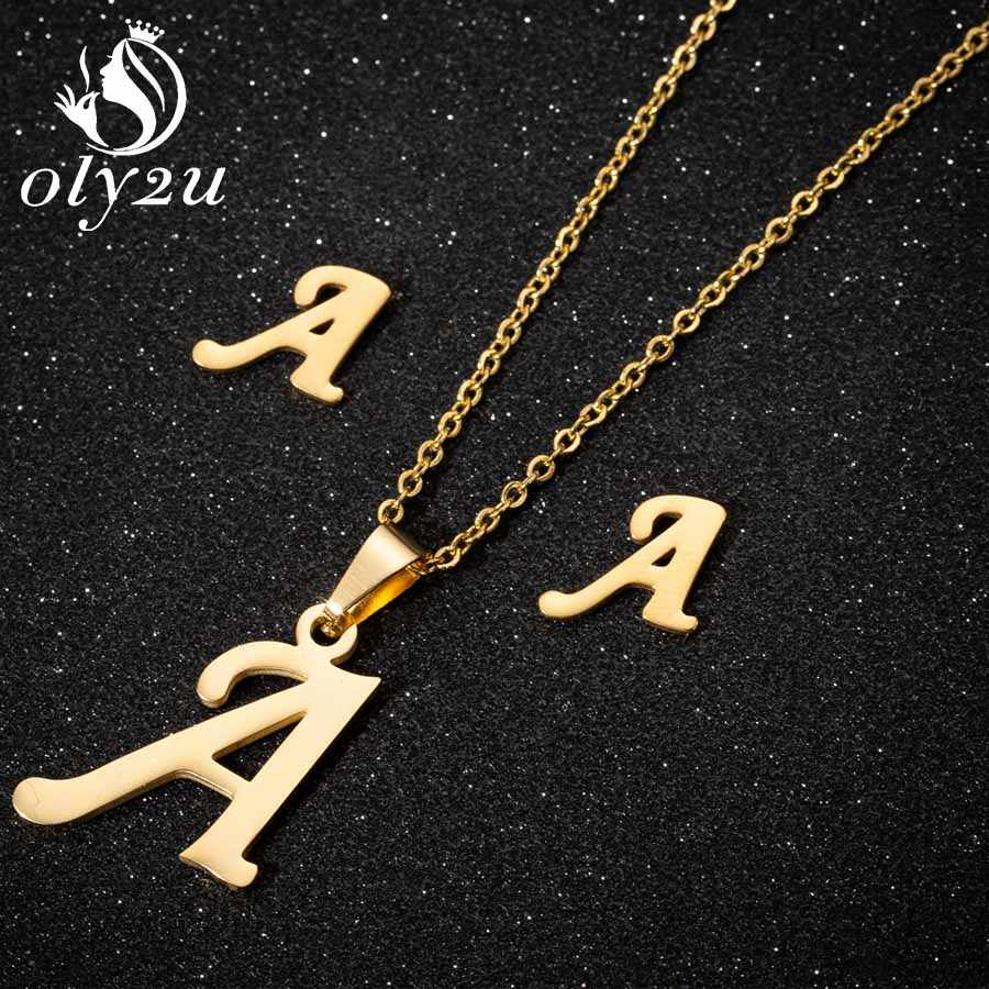 Oly2u Gold Letter Jewelry Set for Women Stainless Steel Necklaces Choker Stud Earrings Weeding Jewelry Sets collier femme 2019