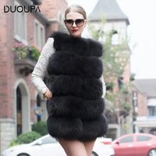 DUOUPA 2018 real  fur vest outerwear overcoat long design o-neck sweater waistcoat womens coat