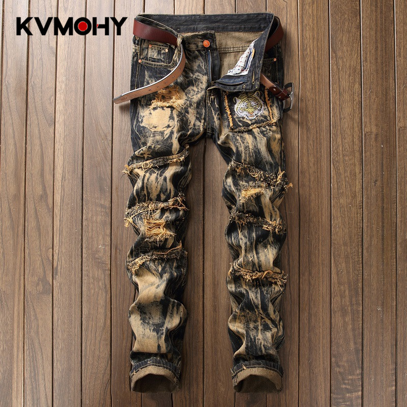 Jeans Men Male Jean Casual Ripped Hiphop Pants Vintage Yellow Tiger Embroidery Straight Jeans For Mens Distressed Denim Trousers