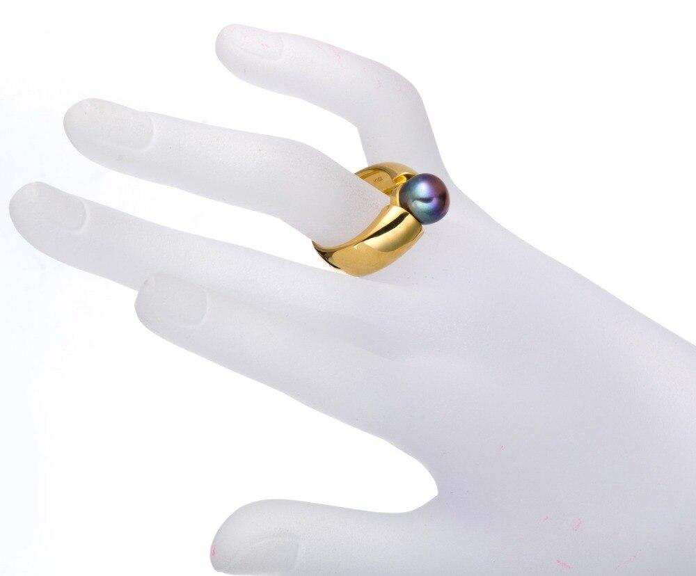 Hutang noir violet perle de culture d'eau douce (9-9.5mm) anneaux solide 925 bague en argent Sterling pour les femmes Fine élégante bijoux cadeau - 4