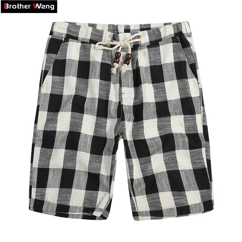 Men's Shorts Casual Bermuda Straight Fashionable Summer Pure-Cotton Brand New Plaid Loose