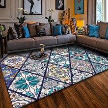 Alfombras y alfombras de estilo Vintage para el hogar para sala de estar, tapiz rectangular, alfombra azul Bohemia, Alfombra de decoración lavable para salón