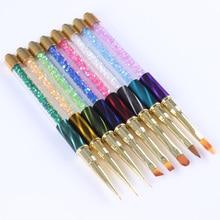 1Pc Gradient Nail Liner Painting Brush Pen Multi Size UV Gel Cat Eye Rhinestone Handle Manicure Nail Art Brush Tool