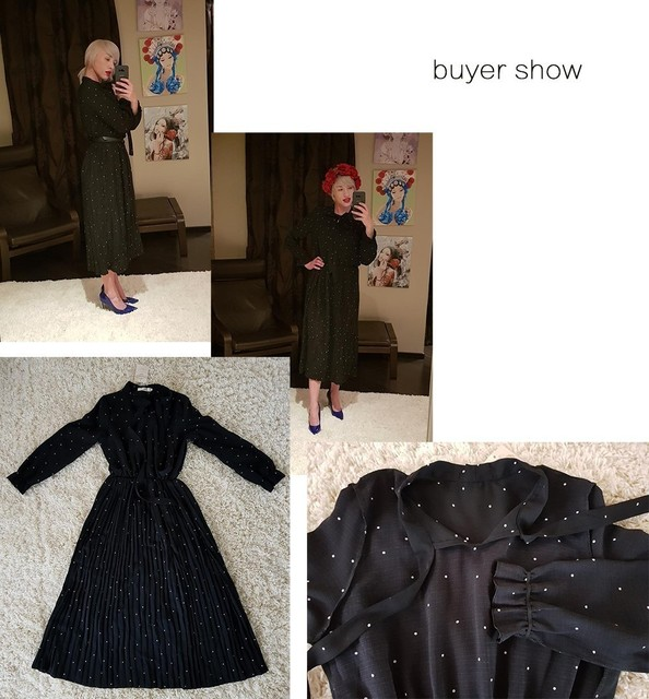 2020 New Spring  Round Neck Long Sleeve Solid Black Chiffon Dot Loose Big Size Dress Women Fashion Tide