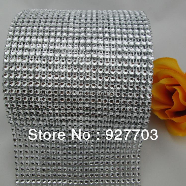 (CM211)10 Yard Platinum Color Sparkle Rhinestone Crystal Diamond Mesh Wrap Roll Ribbon