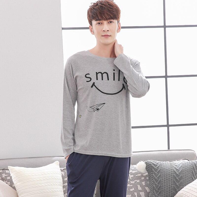 The Factory Wholesale Newest Spring 100% Cotton Men Pajamas Set Letter Pattern Long Sleeve Leisure Loose Male Pajamas L-XXXL