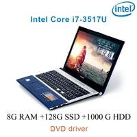 """dvd נהג ושפת 8G RAM 128g SSD 1000g HDD השחור P8-15 i7 3517u 15.6"""" מחשב נייד משחקי מקלדת DVD נהג ושפת OS זמינה עבור לבחור (1)"""