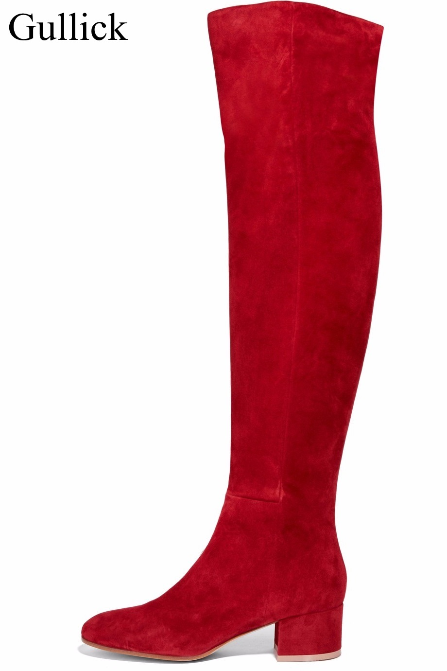 Women Winter Flat Boot Red Suede Thick Heels Over The Knee Boots Round Toe Chunky Tight High Boot Side Zipper Stretch Long Boot