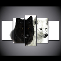 5 Piece HD Printed Black And White Couple Wolf Animal Wall Picture Framed Canvas Painting For Bedroom Wall Poster Art