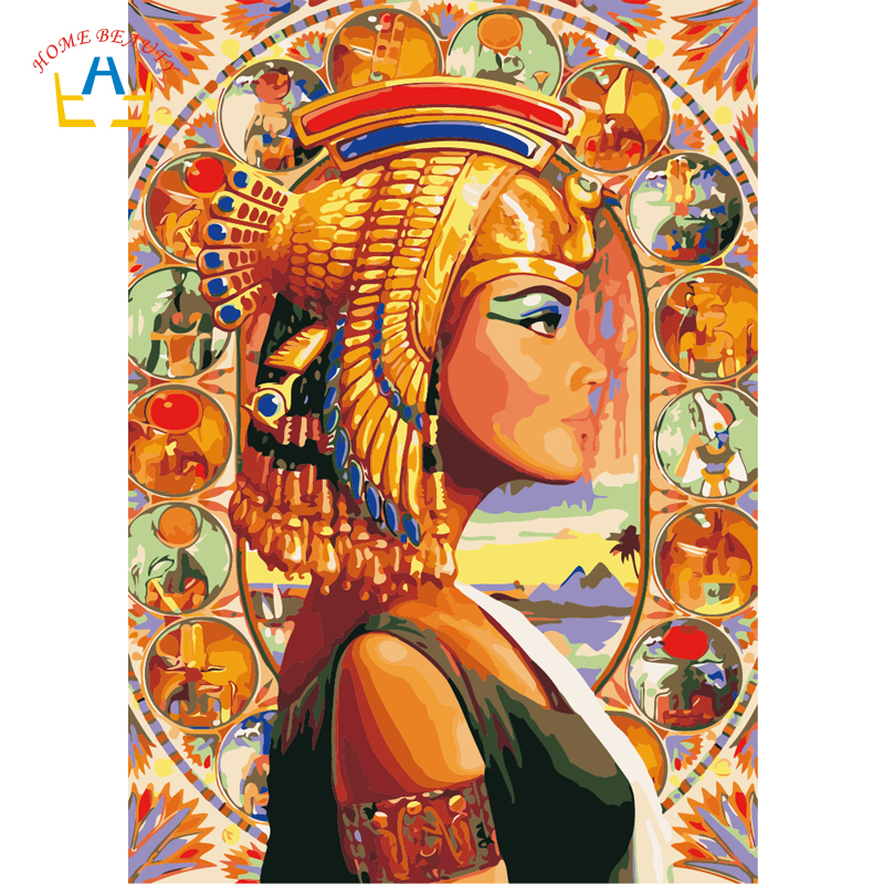 Coloring by numbers on canvas hand painted modular pictures by number art paintings on the wall home decor Queen of Egypt WY5133