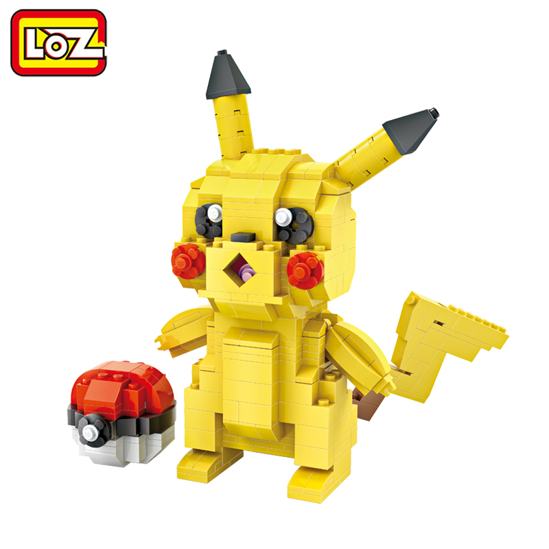 LOZ IDEAS Mini Blocks Pikachu + Pokeball Action Figure Toy Assembly Model 1209