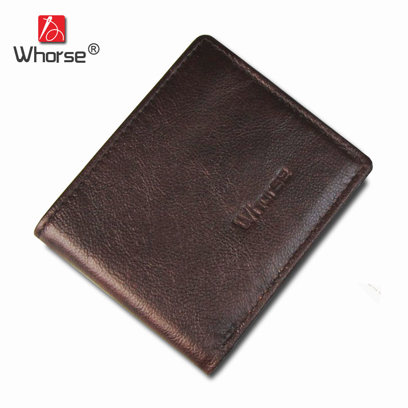 [WHORSE] Brand New Slim Genuine Leather Men Wallet Small Man Cowhide Walets Short Card Holder Bag Purse Brown Coffee W17010 crazy horse leather men wallets 2017 new arrival man brand design purse card vintage wallet holder short fold genuine small bag