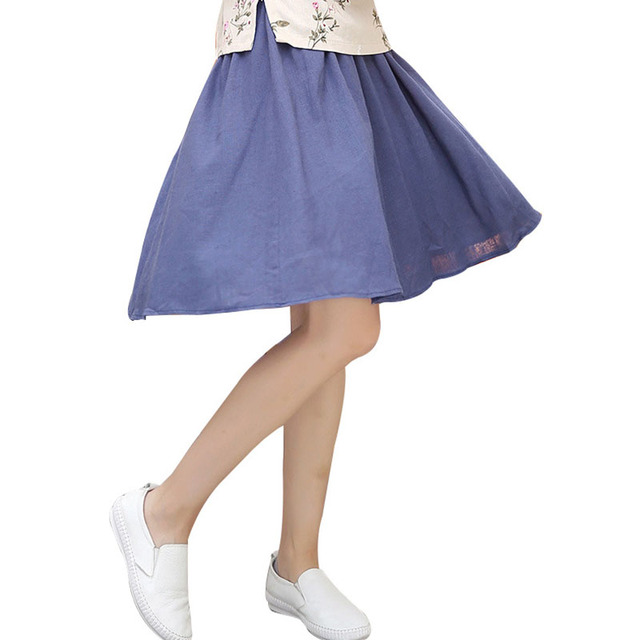 Solid Blue Linen Elastic Waist Women Short Skirt Summer Hot Sale Pleated  Skirt Chinese Style Knee
