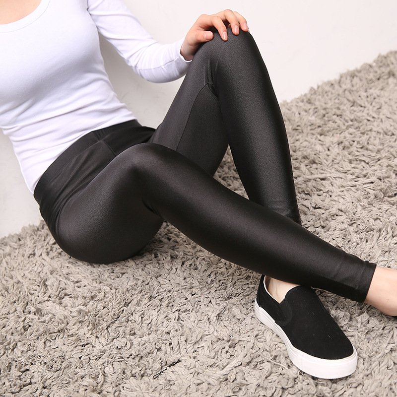 15dd195ffaa34 Aliexpress.com : Buy BIVIGAOS Womens Shiny Black Leggings Gloss Pants  Shaping Pants Leggings Chinlon High Elastic Sexy Leggings Pantyhoses For  Women from ...