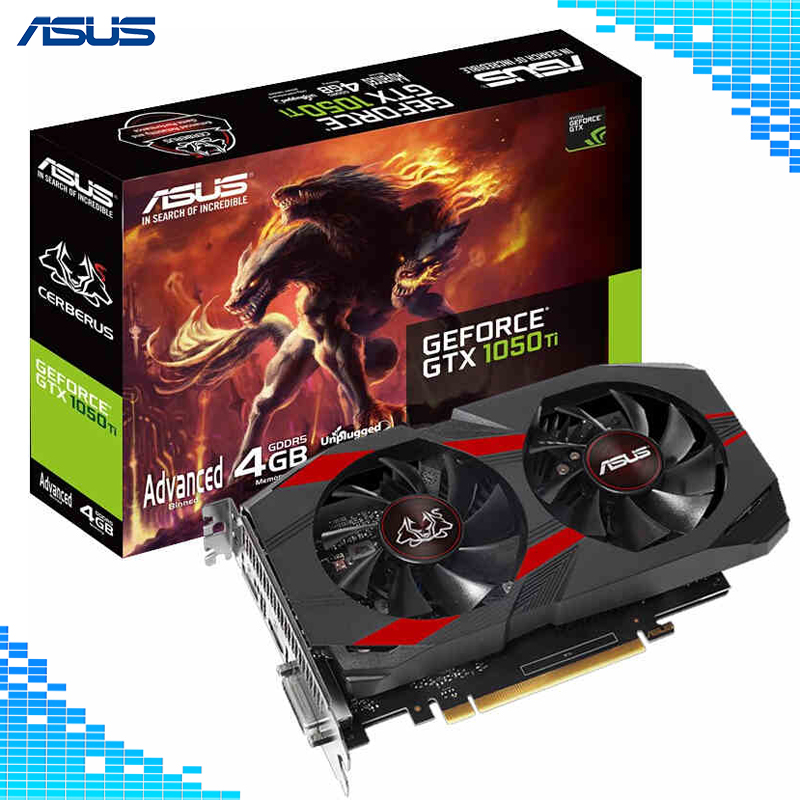 Asus CERBERUS-GTX 1050Ti-A4G cartes graphiques de bureau de niveau grand public GDDR5 Boost 1417 MHz PCI Express 3.0 GeForce GTX 1050Ti 4G