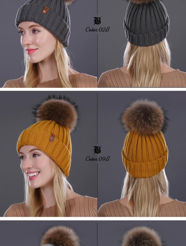 [FLB] Wholesale Real Mink Fur Pom Poms Knitted Hat Ball Beanies Winter Hat For Women Girl 'S Wool Hat Cotton Skullies Female Cap 37