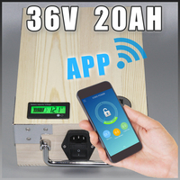 App 36V 20Ah Electric Bicycle LiFePO4 Battery BMS Charger Bluetooth GPS Control 5V USB Port Pack