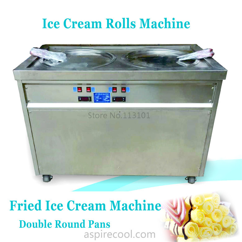 Fried Ice Cream Double Pans Ice Cream Roll Machine For REAL Yummy Ice Cream Rolls Making with 2 pans shentop stfx cb25 double pan ice cream rolls machines new style fried roll ice cream machine