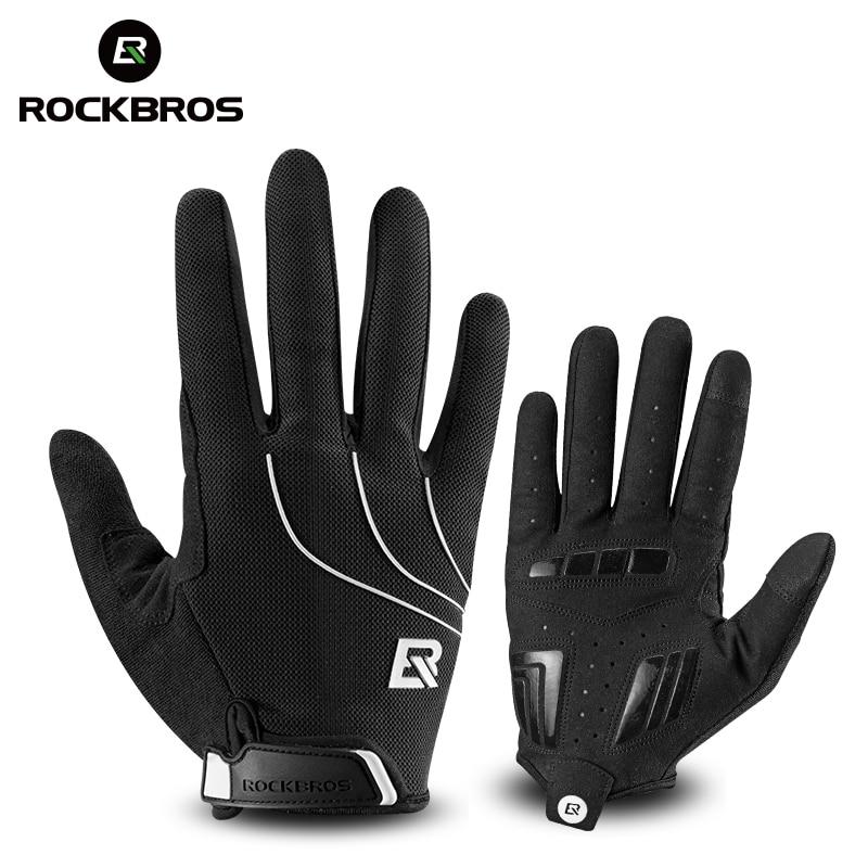ROCKBROS Cycling <font><b>Gloves</b></font> Riding MTB Bike Bicycle <font><b>Glove</b></font> Windproof Touch Screen Thermal Warm Motorcycle Winter Autumn Men Black