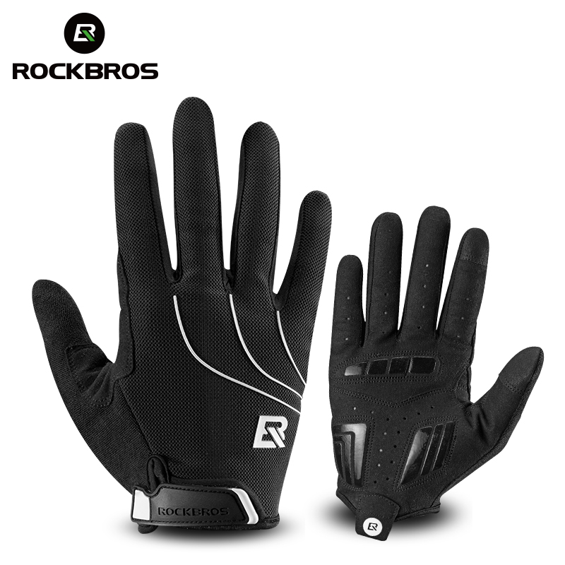ROCKBROS Cycling <font><b>Gloves</b></font> Riding MTB <font><b>Bike</b></font> Bicycle <font><b>Glove</b></font> Windproof Touch Screen Thermal Warm Motorcycle Winter Autumn Men Black