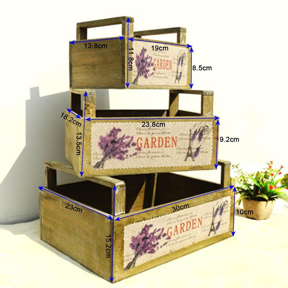 3 pc boîte de rangement en bois avec poignées panier de fleurs organisateur petits objets conteneur Rectangle lavande motif titulaire décor à la maison