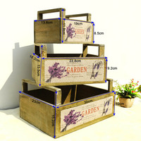 3pc Wooden Storage Box With Handles flower basket Organizer Small Objects Container Rectangle Lavender pattern Holder Home Decor